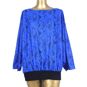 Vintage 70s Blue Abstract Long Sleeve Blouse